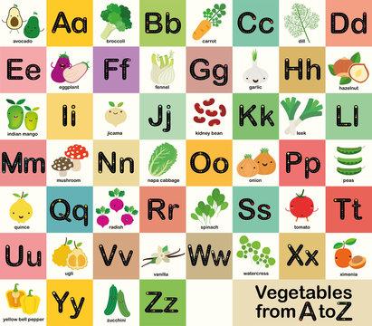 A-Z vegetable alphabet set for kids, Vector illustration