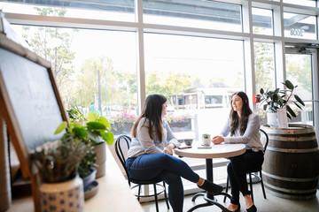 Two women sitting in cafe talking