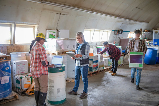 Farmers checking supplies, working in barn