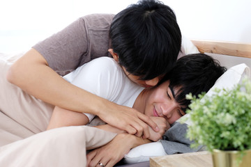 Close up of young asian gay man couple in happy moment, Happy asia homosexual boy, People diversity love lifestyle, LGBTQ pride concept