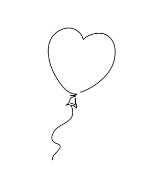 Heart shaped balloon. Continuous drawing line art style.
