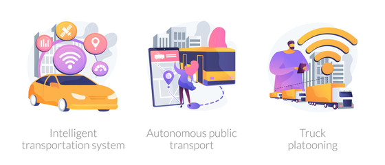 Smart traffic management, Internet of Things. Intelligent transportation system, autonomous public transport, truck platooning metaphors. Vector isolated concept metaphor illustrations.