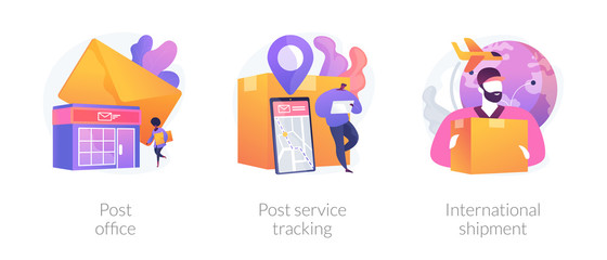 Wall Mural - Post shipment system, online tracking app, letters and parcels delivery. Post office, post service tracking, international shipment metaphors. Vector isolated concept metaphor illustrations.
