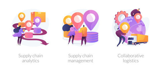 Logistics operations control, delivery service administration. Supply chain analytics, supply chain management, collaborative logistics metaphors. Vector isolated concept metaphor illustrations. Wall mural