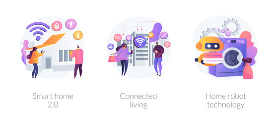 City and home with cognitive intelligence, Internet of Things, innovative technology. Smart home 2.0, connected living, home robot technology metaphors. Vector isolated concept metaphor illustrations.