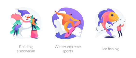 Winter activities, hobby and recreation, outside leisure, snowboarding. Building a Snowman, winter extreme sports, ice fishing metaphors. Vector isolated concept metaphor illustrations.