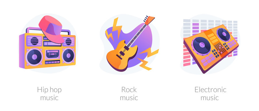 Popular music styles, retro directions. Rock n roll and 80s style disco party. Hip hop music, rock music, electronic music metaphors. Vector isolated concept metaphor illustrations.