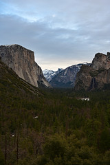 Yosemite Valley in Yosemite National Park, California in late afternoon light in winter.