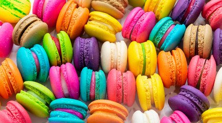 Papiers peints Macarons A french sweet delicacy, macaroons variety closeup.macaroon colourful texture.