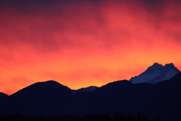 Acrylic Prints Coral Olympic Mountains at Sunset