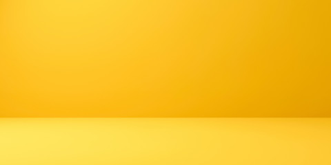 Blank yellow display on vivid summer background with minimal style. Blank stand for showing product. 3D rendering.
