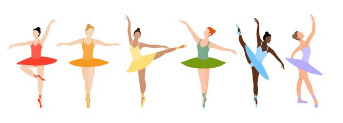 Dancing ballerina series. Vector set of ballerina dancing pointe set. Girls of different nationalities and skin colors. Black-skinned, fair-skinned ballerinas dance in different dresses.