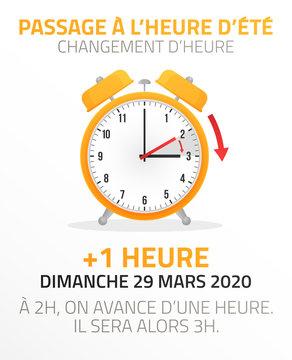 Passage à l'heure d'été - Changement d'heure le 29 Mars 2020