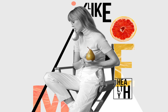 Fashion stylish young woman holding pears fruits posing on trendy minimal creative modern abstract contemporary art collage monochrome and color background, zine culture, healthy lifestyle concept