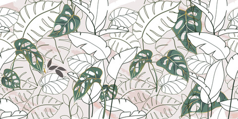 Wall Mural - summer tropical background texture, wallpaper design with marble, tropical leaves, line art, golden luxury background vector.
