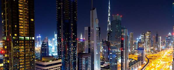 Dubai city scape at the night Fotomurales