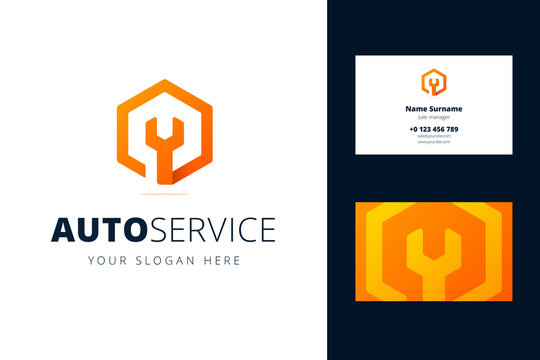Logo and business card template for auto, repair services, system administrators, car service.s Vector illustration with wrench sign in origami, overlapping style.