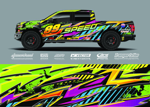 Truck wrap design vector kit. Modern sport graphics. Abstract stripe racing and grunge background for wrap all vehicle, race car, rally, adventure vehicle and car livery.