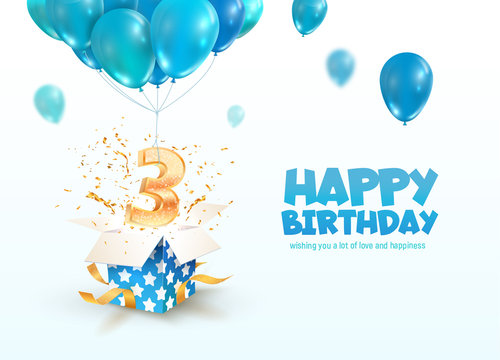 Celebrating of 3 years birthday vector 3d illustration. 3th years anniversary and open gift box with explosions confetti and number flying on balloons