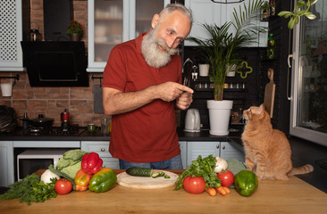 Portrait of handsome bearded senior man talking with cat in the kitchen.