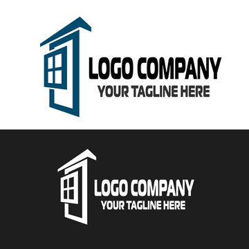Logo windows, doors, construction, house, frames in two colors, isolated on a white background. Symbol graphic template element vector.