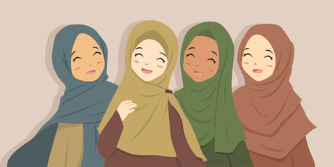 Happy Muslim best friends laughing together. Muslim women wearing hijab cartoon vector.