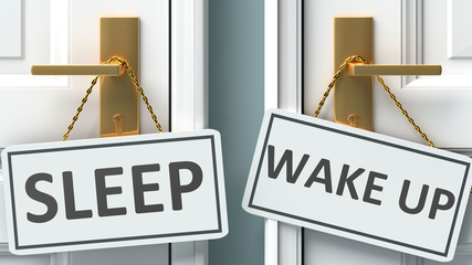Sleep or wake up as a choice in life - pictured as words Sleep, wake up on doors to show that Sleep and wake up are different options to choose from, 3d illustration