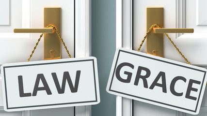 Law or grace as a choice in life - pictured as words Law, grace on doors to show that Law and grace are different options to choose from, 3d illustration