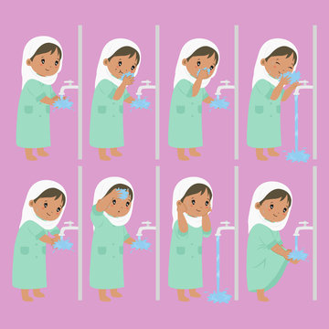 Muslim African American girl perform ablution steps, to clean self before prayer or shalat. Ablution steps for children vector collection