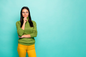 Portrait of her she nice attractive lovely pretty cute curious creative intellectual girl creating new plan touching chin isolated on bright vivid shine vibrant blue green turquoise color background Wall mural