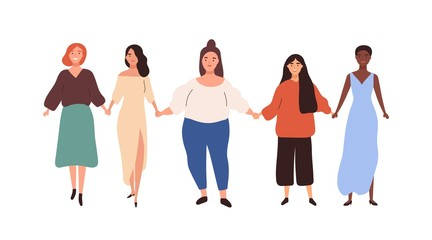 Group of diverse different heigh and weigh woman holding hand vector flat illustration. Happy girl union of feminists standing together isolated on white. Colorful female friend enjoying sisterhood