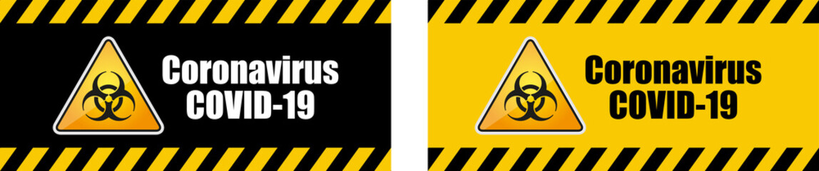 Warning coronavirus sign on banner