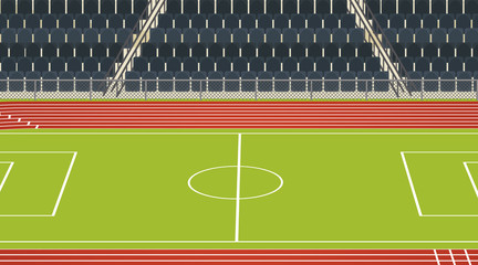 Background scene of football field with stadium