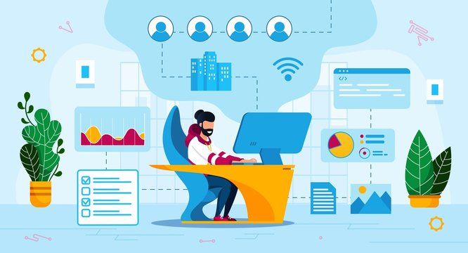 Online Business Trendy Flat Vector Concept. Internet Entrepreneur Working on Computer in Office, Online Network, Web Service Administrator, Programmer Communicating with Users or Clients Illustration