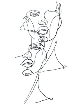 two faces one line drawing fashion women illustration