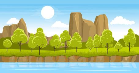 La pose en embrasure Piscine Summer landscape with river