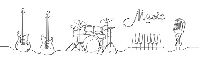 Set of continuous one line drawing of a musical instruments Fotomurales