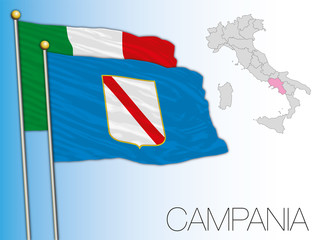 Campania official regional flag and map, Italy, EU, vector illustration