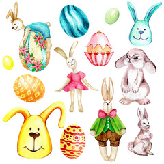 watercolor set. easter eggs and rabbits. for creating cards and stickers
