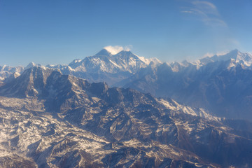 Himalayas ridge with Mount Everest aerial view from Nepal country side