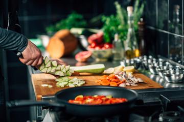 Cutting Fresh Zucchini - Preparing Vegan Meal