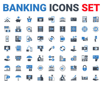 Set banking icons glyph. For concepts and web apps