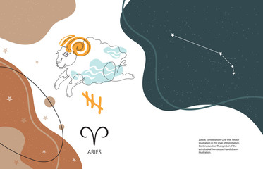 Zodiac background. Aries constellation. Horizontal banner. One line.