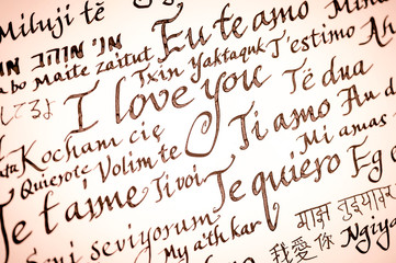 Handmade Valentine's Day message handwritten in calligraphy in many languages. Translation: I love You