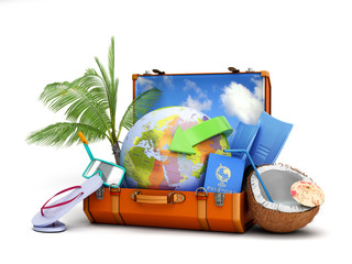 modern summer travel concept suitcase with a globe inside near accessories for summer holidays 3d render on white