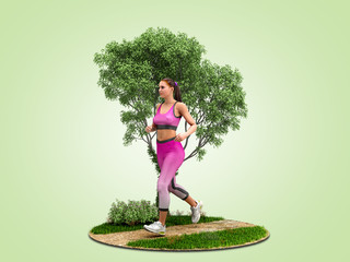 dayly fitness concept girl runs on nature  3d render on green gradient