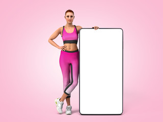 fitness app concept girl in sportswear is standing next to the phone whith empty screen 3d render on color gradient