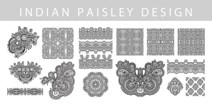 set of indian paisley design element, hand drawing floral tattoo doodle collection