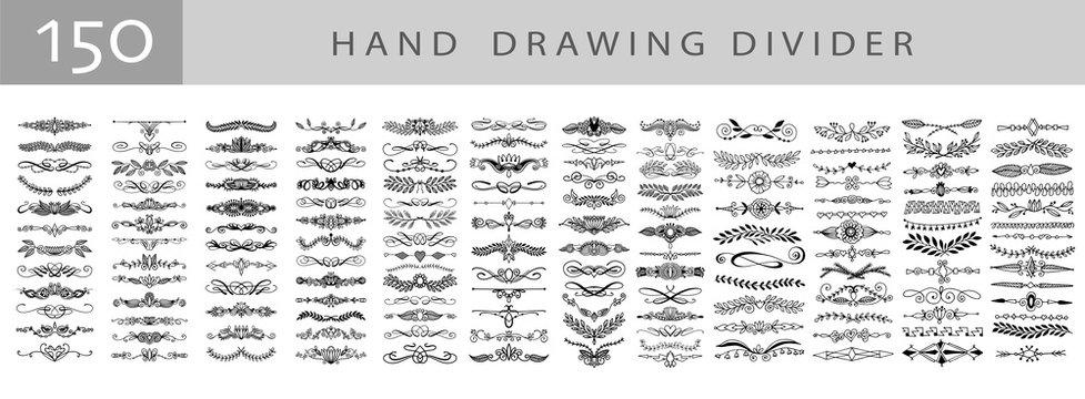mega set of 150 doodle sketch drawing divider, wedding card design element or page decoration