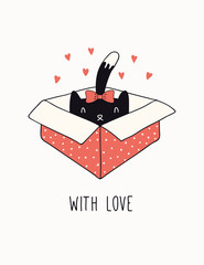 Foto op Canvas Illustraties Hand drawn Valentines day card, banner with cute cat in a box, hearts, text With love. Vector illustration. Line drawing. Isolated objects on white. Design concept for holiday print, invite, gift tag.